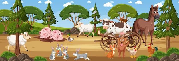 Panoramalandschapsscène met verschillende boerderijdieren