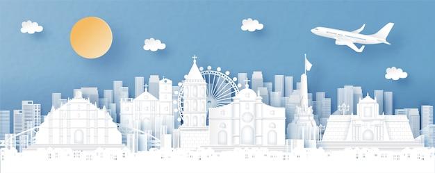 Panoramamening van de horizon van filippijnen en van de stad met wereldberoemde oriëntatiepunten