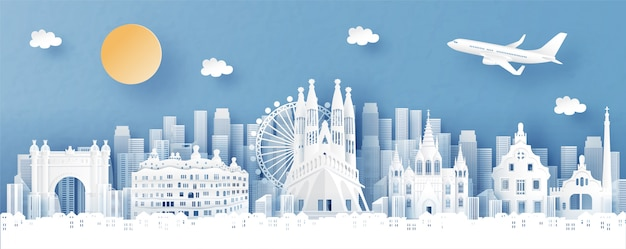 Panoramamening van de horizon van spanje en van de stad met wereldberoemde oriëntatiepunten