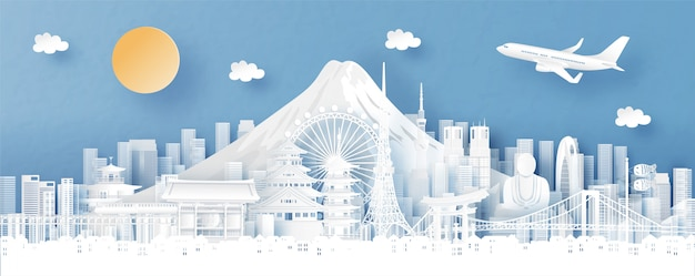 Panoramamening van de horizon van tokyo, van japan en van de stad met wereldberoemde oriëntatiepunten