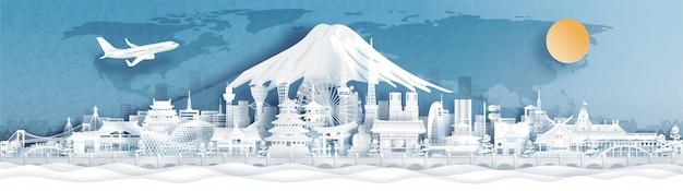 Panoramamening van de stadshorizon van japan met wereldberoemde oriëntatiepunten in document sneed stijlillustratie.