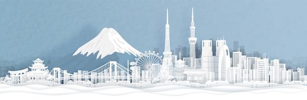 Panoramamening van de stadshorizon van tokyo met wereldberoemde oriëntatiepunten
