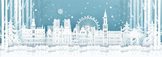 Panoramaprentbriefkaar en reisaffiche van wereldberoemde oriëntatiepunten van belgië in wintertijd