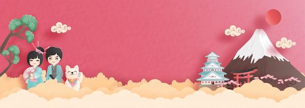 Panoramaprentbriefkaar en reisaffiche van wereldberoemde oriëntatiepunten van japan met fuji-berg