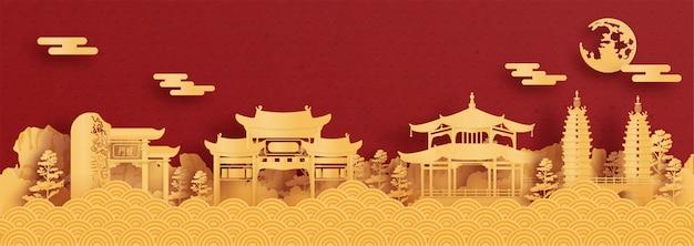 Panoramaprentbriefkaar en reisaffiche van wereldberoemde oriëntatiepunten van kunming, china