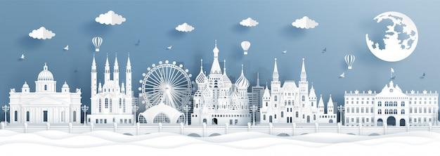 Panoramaprentbriefkaar en reisaffiche van wereldberoemde oriëntatiepunten van moskou, rusland