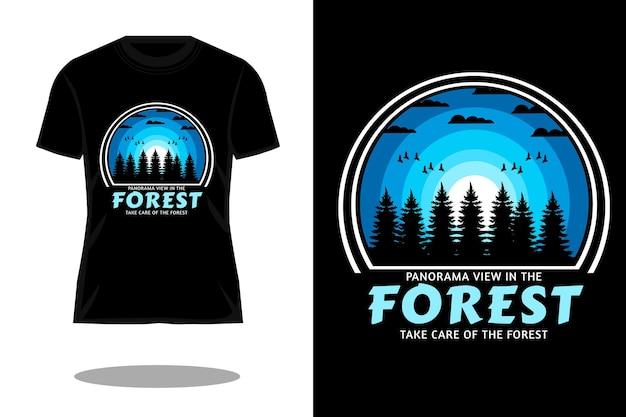 Panoramisch uitzicht in het bos retro silhouet t-shirtontwerp