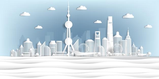 Panoramisch van het document van wereldberoemde oriëntatiepunten sneed stijl vectorillustratie