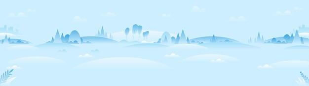 Panoramisch winterlandschap in minimalistische stijl