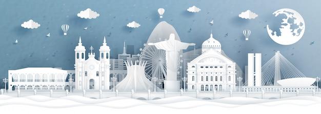 Panoramische illustratie met wereldberoemde oriëntatiepunten