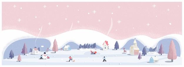 Panoramische vectorillustratie van winter wonderland in roze pastel kleuren. het schattige kleine dorp op eerste kerstdag met sneeuw. kinderen, sneeuwbal en sneeuwpop. minimaal winterlandschap.