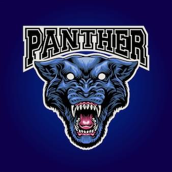 Panter hoofd mascotte logo