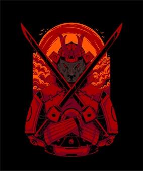 Panter samurai illustratie. perfect voor t-shirtproduct