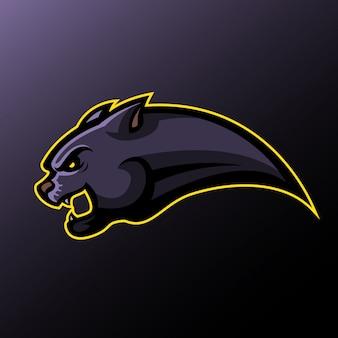 Panther hoofd zijaanzicht sportlogo