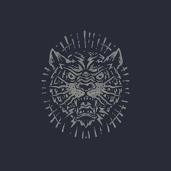 Panther oude stempel hand getrokken illustratie