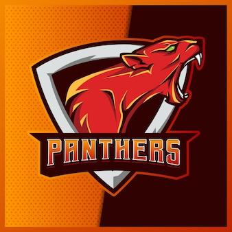 Panther puma mascotte esport logo ontwerp