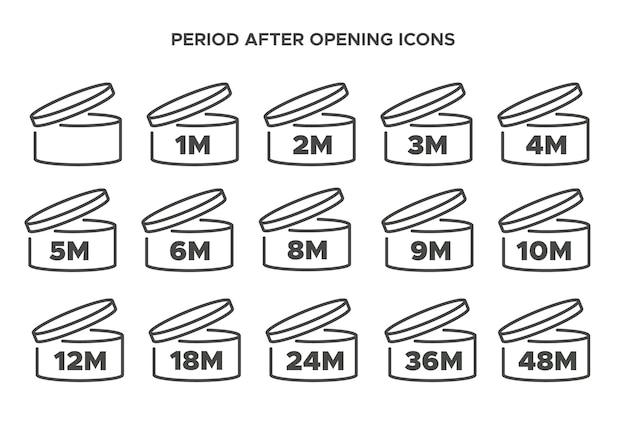 Pao vectorsymbool de periode na het openen van de pictogrammenset cosmetische open maand houdbaarheid vervaldatum