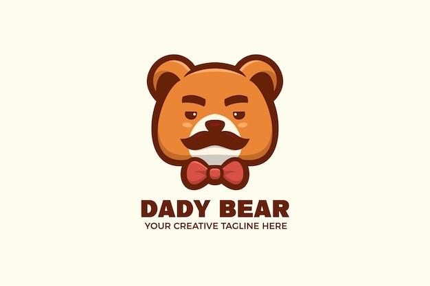 Papa beer cartoon mascotte logo sjabloon