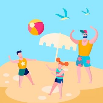 Papa en kinderen spelen bal spel vlakke afbeelding