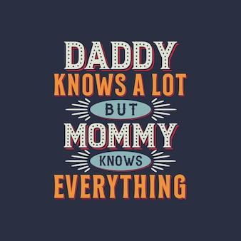 Papa weet veel maar mama weet alles, moederdag retro vintage design