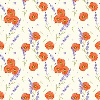 Papaverbloem en lavendel naadloos patroon.