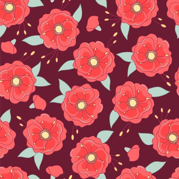 Papavers naadloze patroon. kleurrijke bloemenachtergrond.