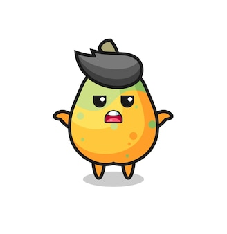 Papaya-mascottekarakter zegt ik weet het niet, schattig stijlontwerp voor t-shirt, sticker, logo-element