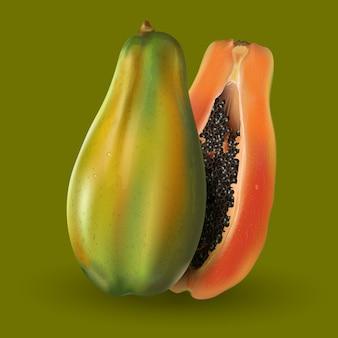 Papaya op groene achtergrond