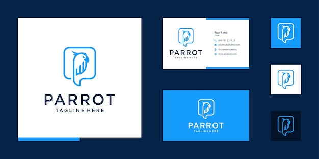 Papegaai financiële logo-inspiratie met visitekaartjeontwerp