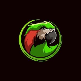 Papegaai hoofd logo ontwerp