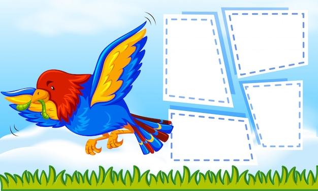 Papegaai op notitie sjabloon