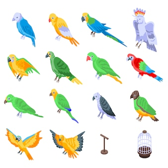 Papegaai set, isometrische stijl