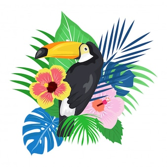 Papegaai vogel met tropische plant achtergrond