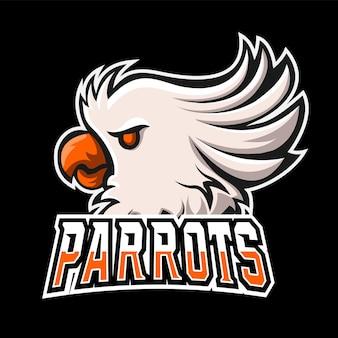 Papegaaien sport en esport gaming mascotte logo