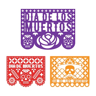 Papel picado-sjablonen voor mexican day of dead.