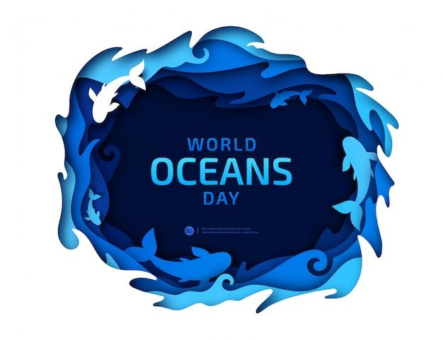 Paper art of world oceans day