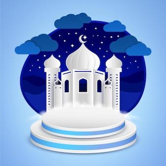 Paper cut mosque als een podium