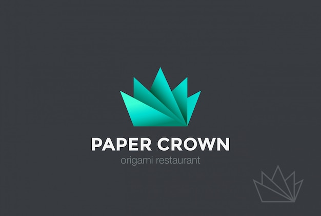 Paper origami crown logo vector pictogram.