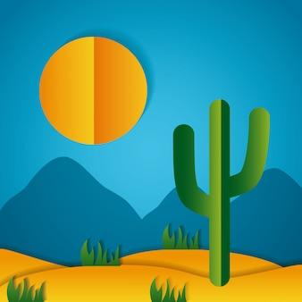 Paper origami landschap van een woestijn