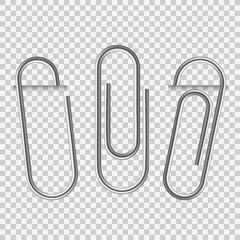 Paperclip op papier. zilveren briefpapier fix clip apparaat en houders blanco vellen