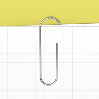 Paperclip op witte bladachtergrond