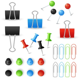 Paperclips, binders en pins vector set