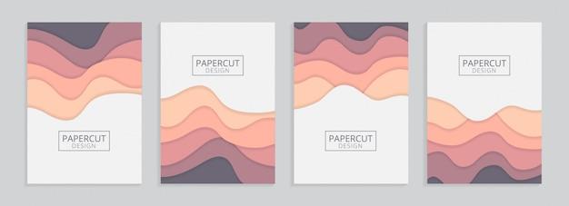 Papercut a4 achtergrond met golvende vormen ingesteld
