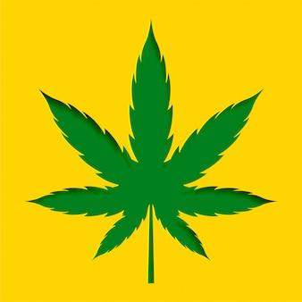 Papercut stijl marihuana cannabis blad ontwerp achtergrond