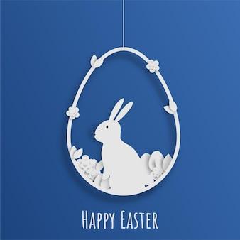 Papercut stijl paasdag konijntjes eieren