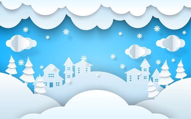 Papercut winterlandschap xmas nieuwjaar achtergrond