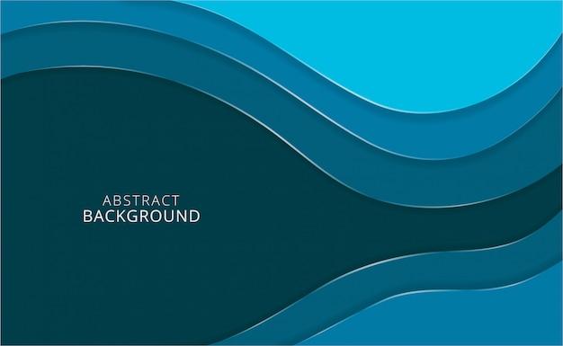 Papercutachtergrond met blauwe golvende vormen