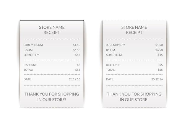 Papier atm check illustratie. financiële ontvangstrekening. betalingsteken voor café of restaurant. documentenlijst.