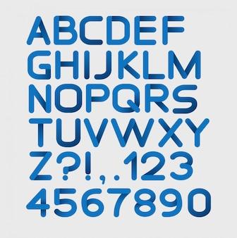 Papier blauw strikt alfabet afgerond