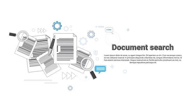 Papier document zoeken vergrootglas papierwerk business web banner vector illustratie